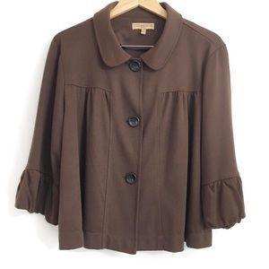 Notations brown crop light jacket L0235
